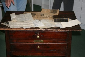 Documents found inside the drawers of Cowper's table from Canada