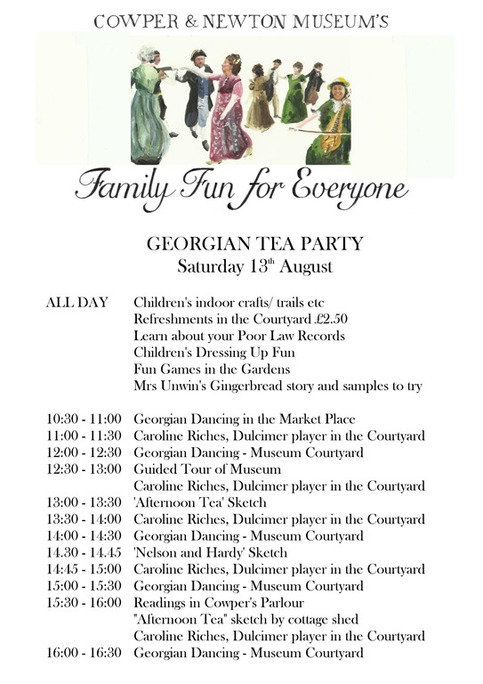 itinerary poster for georgian tea party website